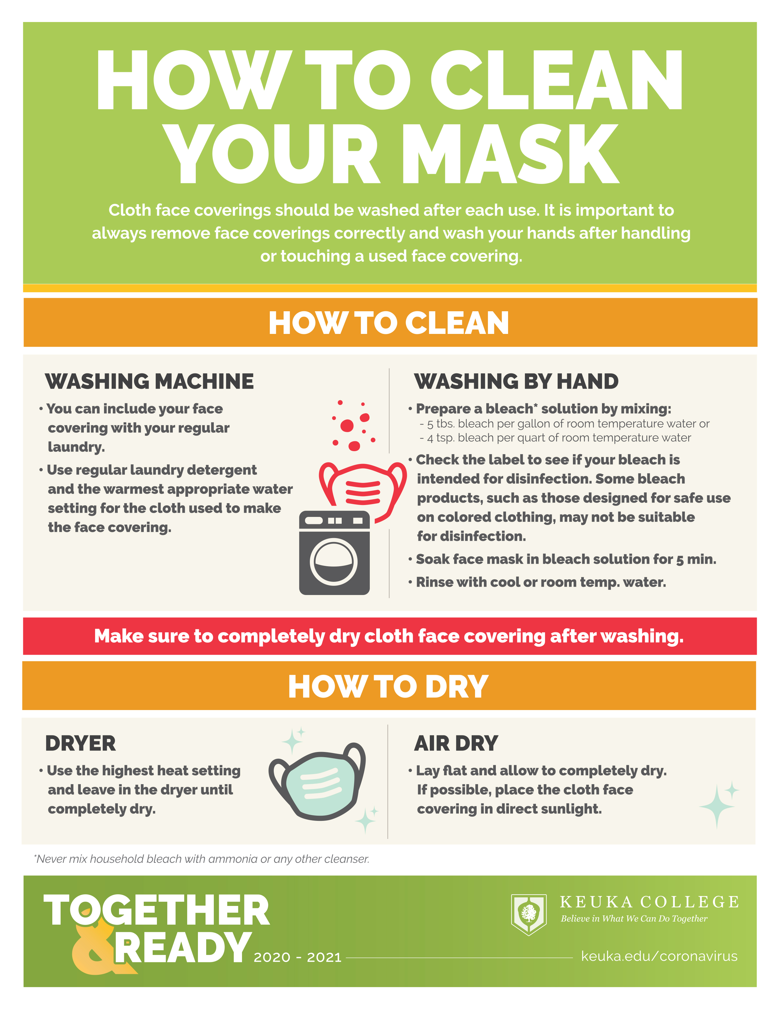 How to clean your mask. Click to download an accessible PDF.