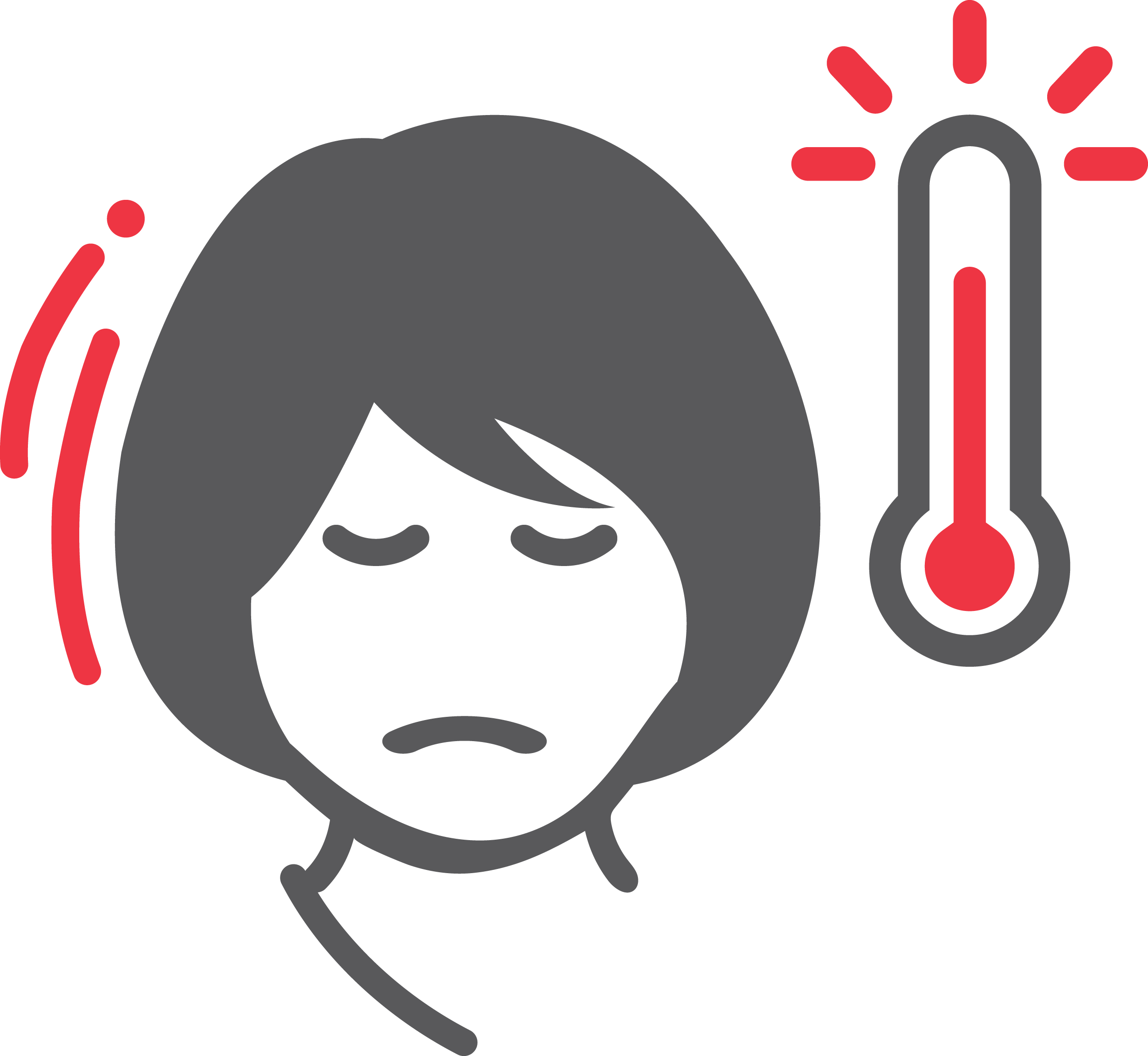 graphic of a woman looking sick with a thermometer next to her face