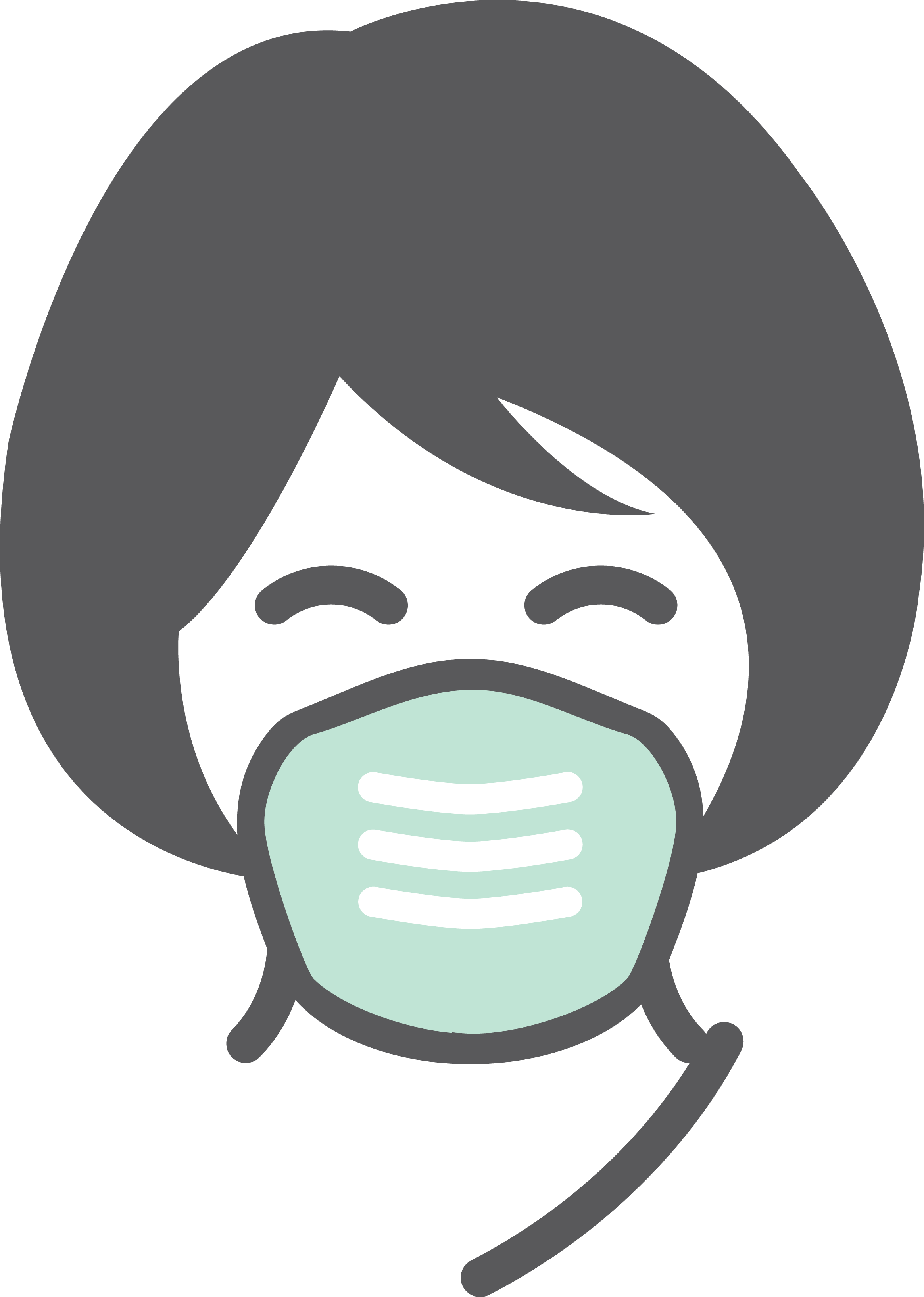 graphic of a woman wearing a face covering