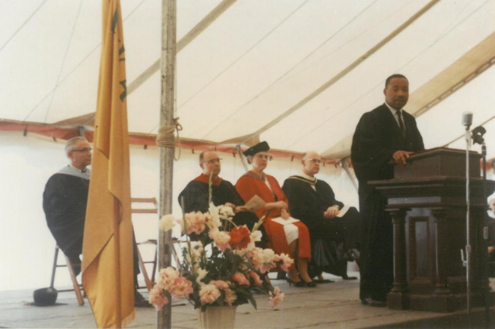 Dr. Martin Luther King Jr. is shown delivering the baccalaureate address on the campus of Keuka College on June 16, 1963, in one of the only known color photographs of the event.