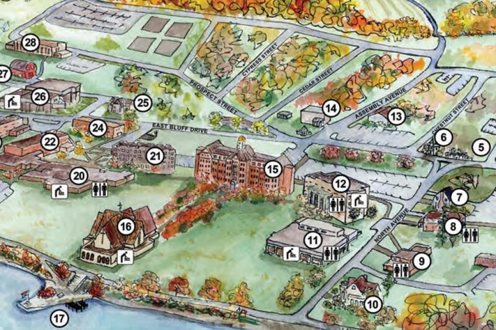 campus map aerial drawing