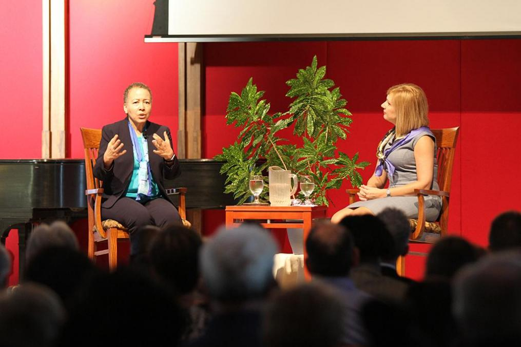 This year's Fribolin lecture with Dr. Beverly Daniel Tatum was held in a fireside chat format facilitated by Interim College President Amy Storey.