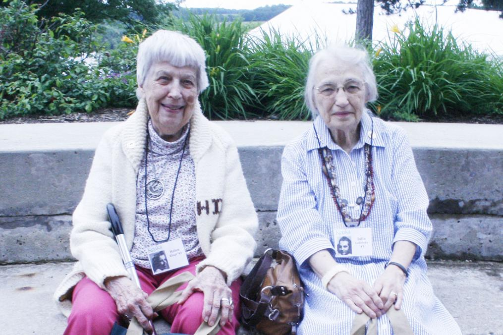 Julia Lobotsky '43, at right, returned to campus in 2013 for her 70th Class Reunion. With her is classmate and roommate Helen Klopf '43.