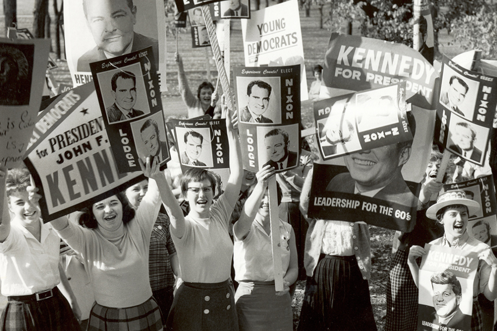 Pre-election campaigning brought out Keuka College students from both sides of the aisle in 1960.