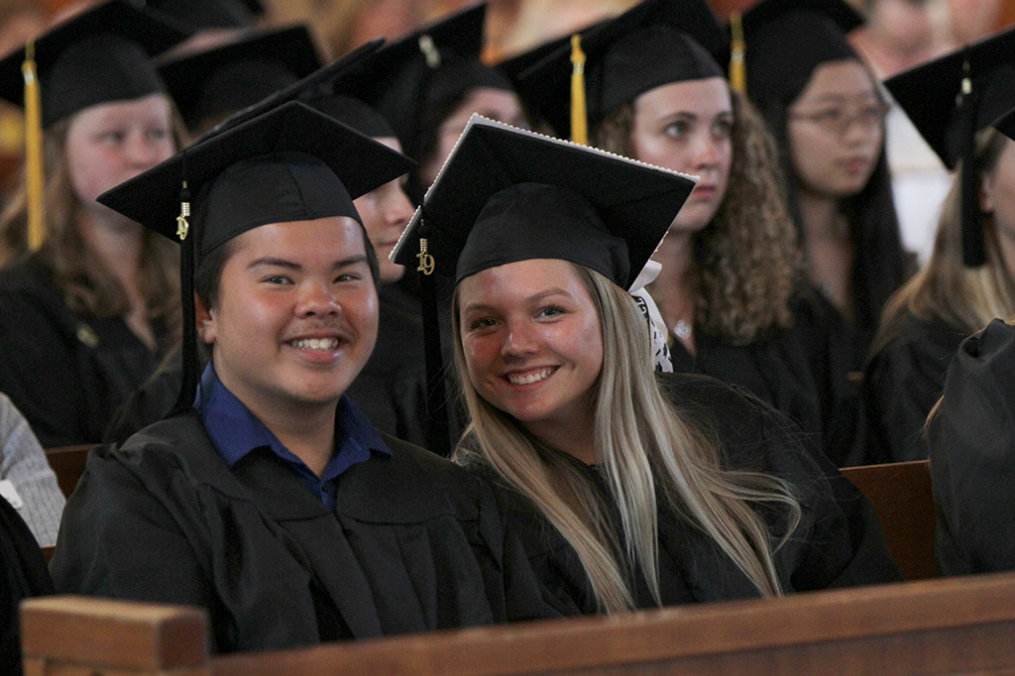 Keuka College graduating seniors Jim Truong '19 and Vanessa Tsarevich '19 were all smiles at the annual Baccalaureate Service on Friday, May 17, in the College's Norton Chapel.