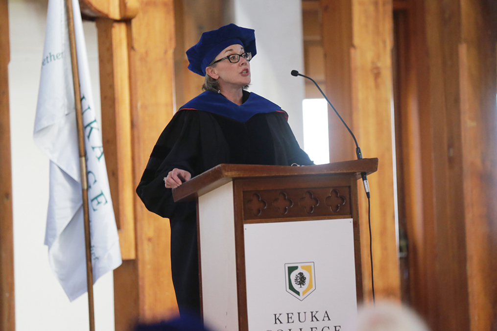 Keuka College's 2017-18 Professor of the Year Dr. Jennie Joiner gives the Academic Convocation address in August.