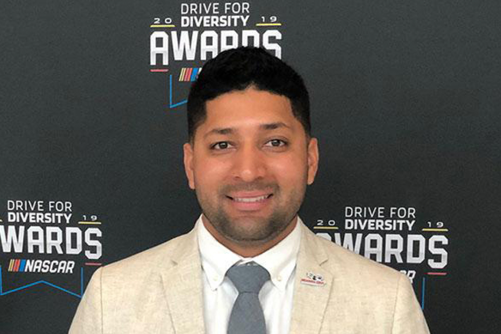 Jose Cervantes '13 M'14 was honored by NASCAR at its 12th annual NASCAR Drive for Diversity Awards Ceremony, held at the NASCAR Hall of Fame in Charlotte, N.C.