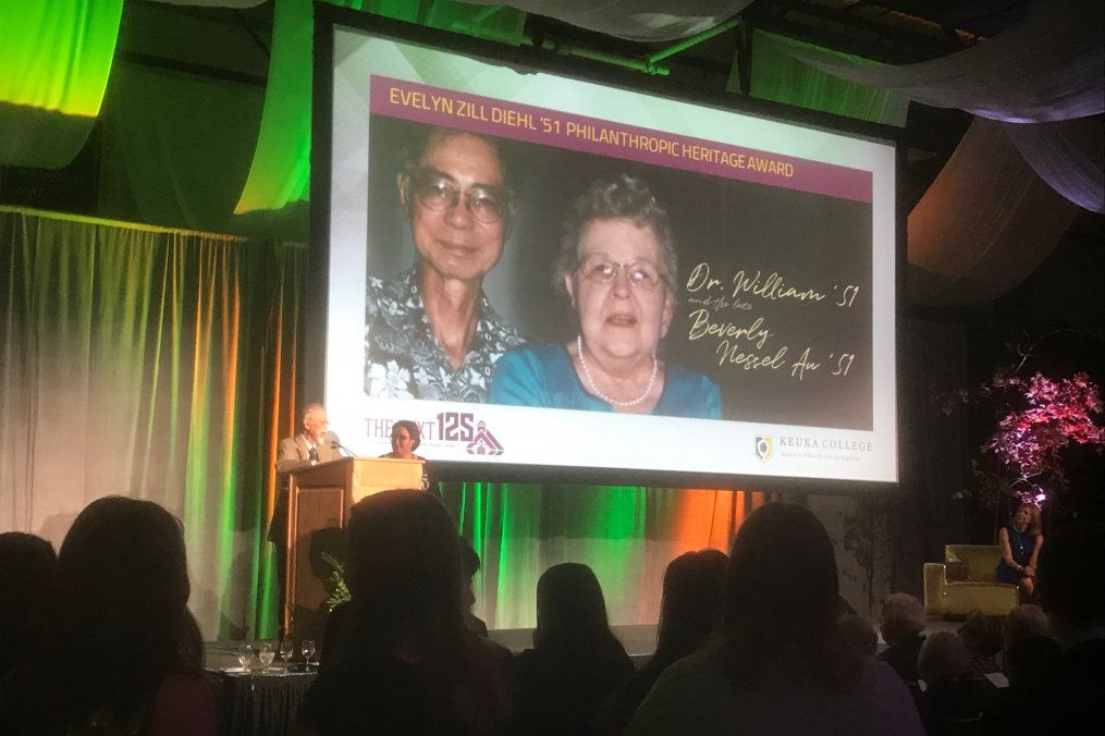The late Beverly Nessel Au '51 and Dr. William Y.W. Au '51 were honored with the Evelyn Zill Diehl '51 Philanthropic Heritage Award at this year's Green & Gold Celebration weekend gala on Oct. 13.