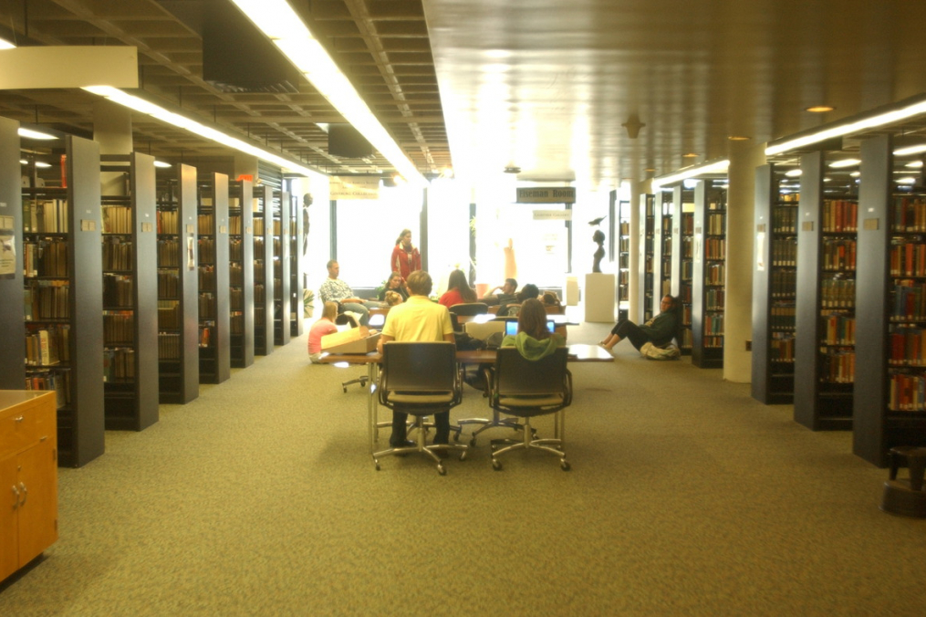 students meeting in library
