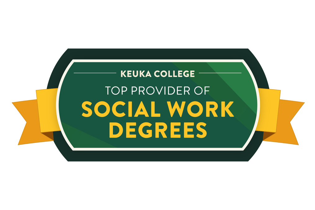 Keuka College Social Work Degree Top School badge with a green background and yellow letters