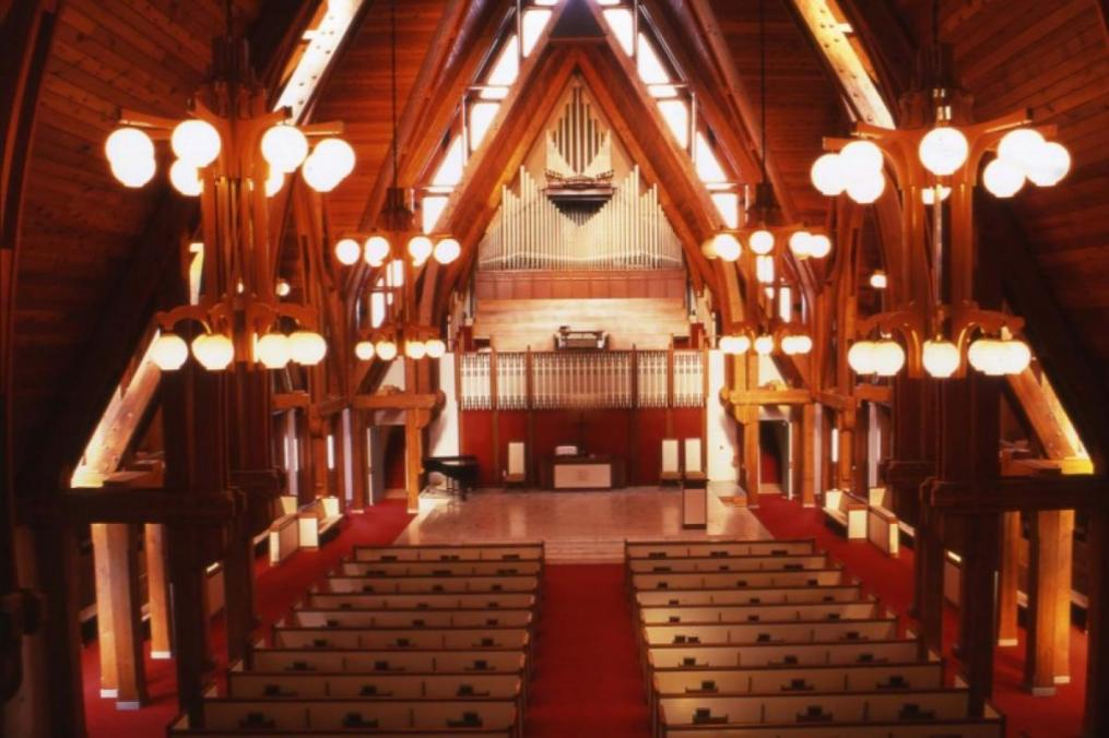 The inside of Norton Chapel at Keuka College