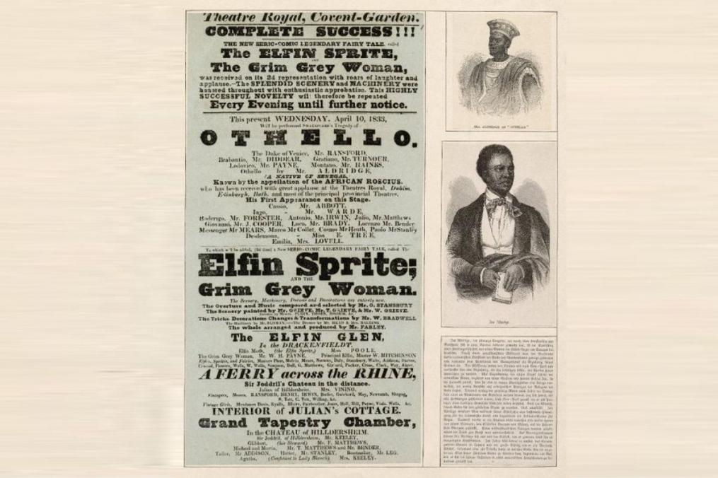 A playbill from a London theatre, April 10, 1833. Both pictures are of Ira Aldridge--the top as Othello.