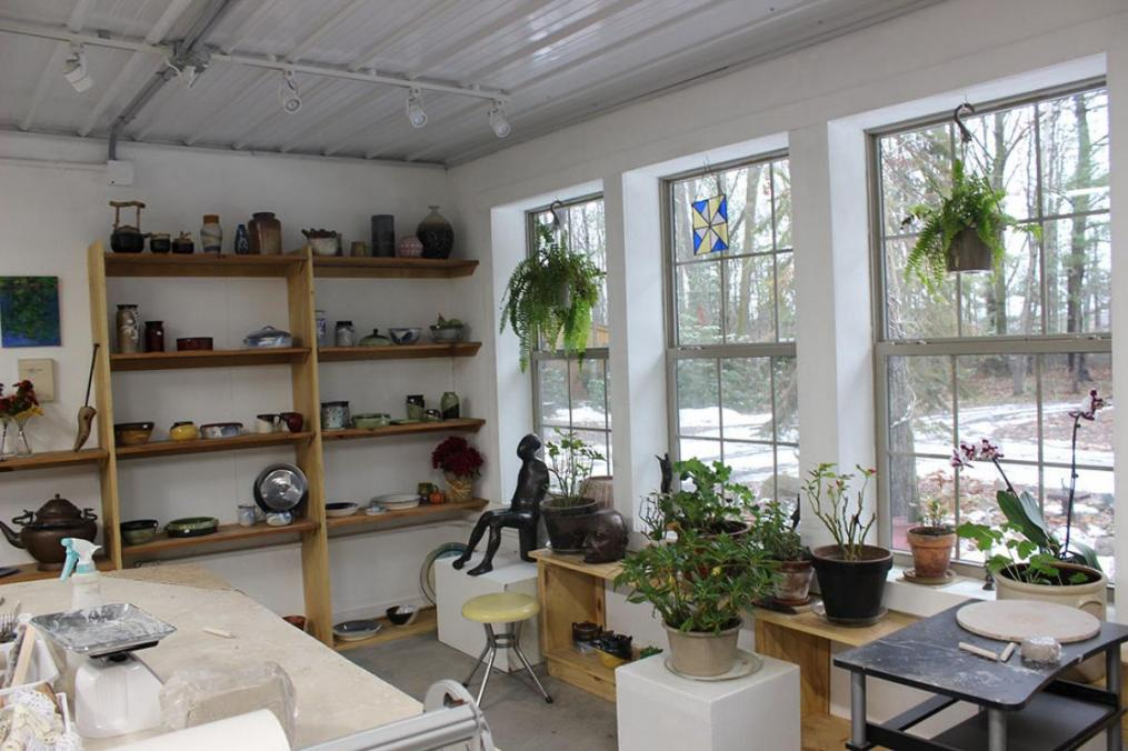 Inside ceramicist Faith Benedict '81's ceramics studio.