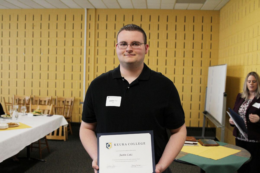 Justin Latz '19 was named Keuka College's Student Employee of the Year.