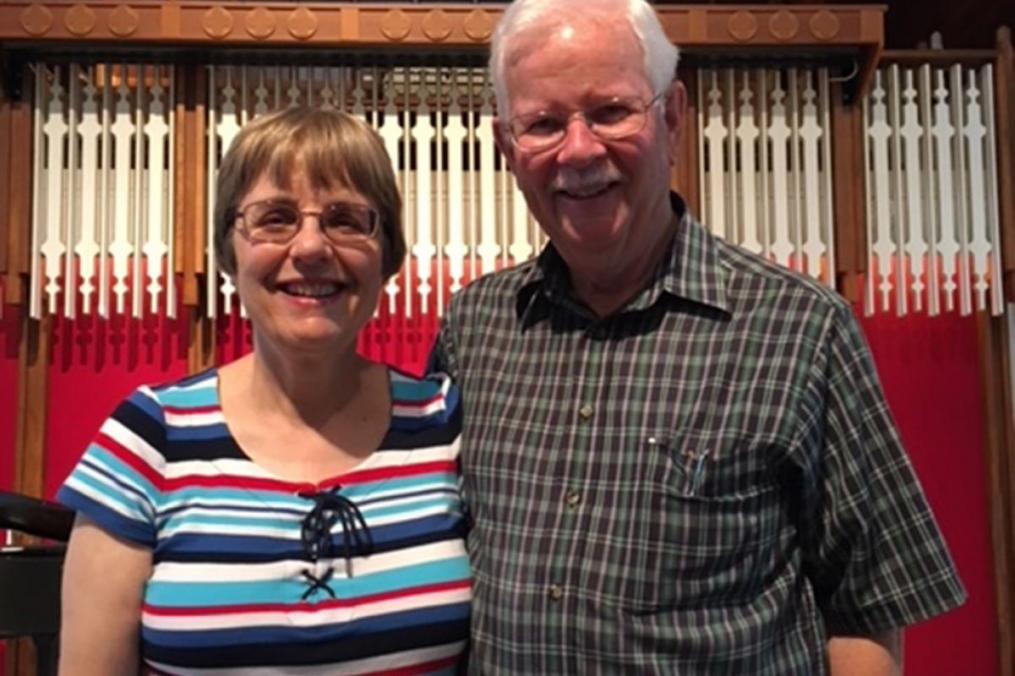 Mary Beth Mankin 'standing next to her husband, Bill Mankin in the chapel