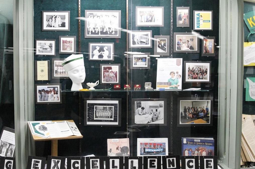 The Nursing program's 75th anniversary is the subject of ongoing commemoration, including this display at Lightner Library.