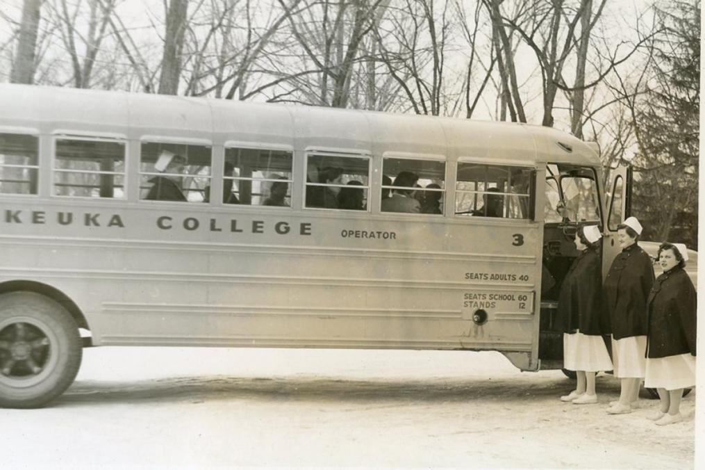 Bus trips to regional hospitals were long a part of the Keuka College Nursing program.