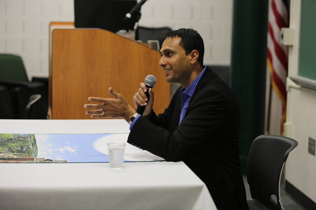 Interfaith Youth Core founder and President Eboo Patel takes questions from Keuka College students Friday, May 5, 2017, prior to delivering the 29th Annual Carl and Fanny Fribolin Lecture.