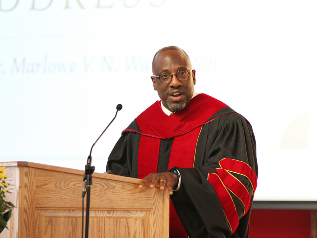 Keuka College Board of Trustees member the Rev. Dr. Marlowe V.N. Washington delivers the annual Baccalaureate Address.