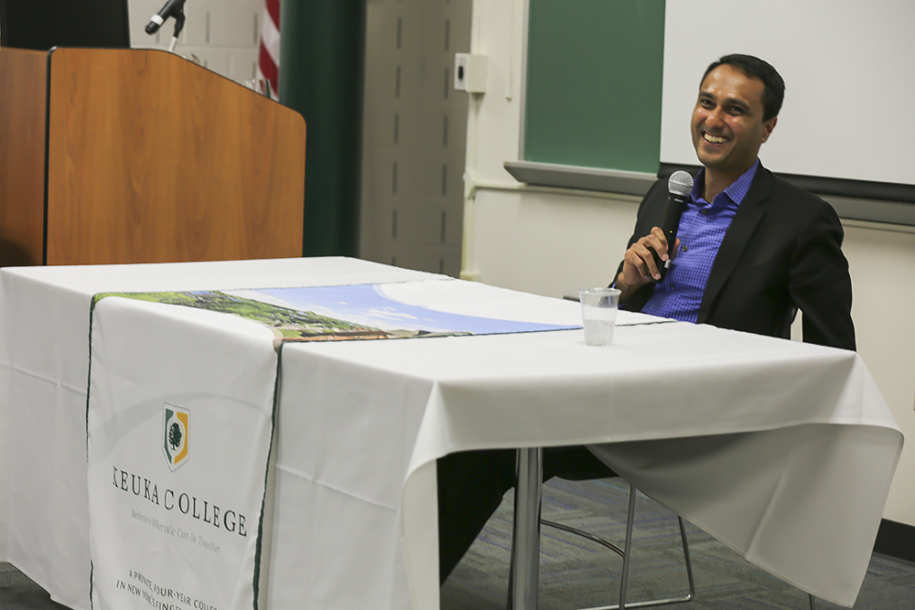Interfaith Youth Core founder and President Eboo Patel laughs as he takes questions from Keuka College students Friday, May 5, 2017, prior to delivering the 29th Annual Carl and Fanny Fribolin Lecture.