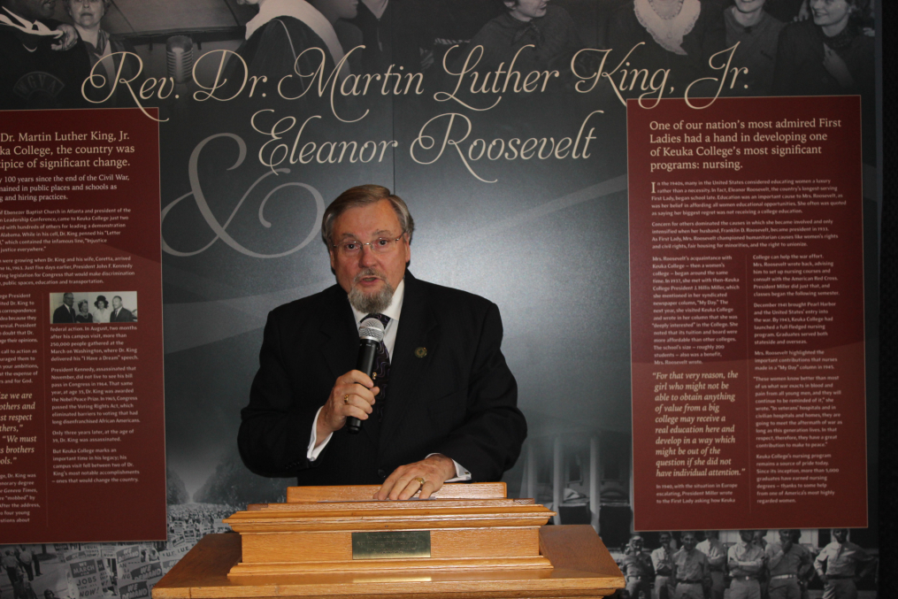 Keuka College Trustee Donald Wertman speaks at the unveiling of sculptures of Rev. Dr. Martin Luther King, Jr. and Eleanor Roosevelt at the Collge's Lightner Library on Friday, May 5, 2017. The busts were created by Keuka College Professor Emeritus of Art Dr. Dexter Benedict and commissioned by Wertman and his wife, Christine.