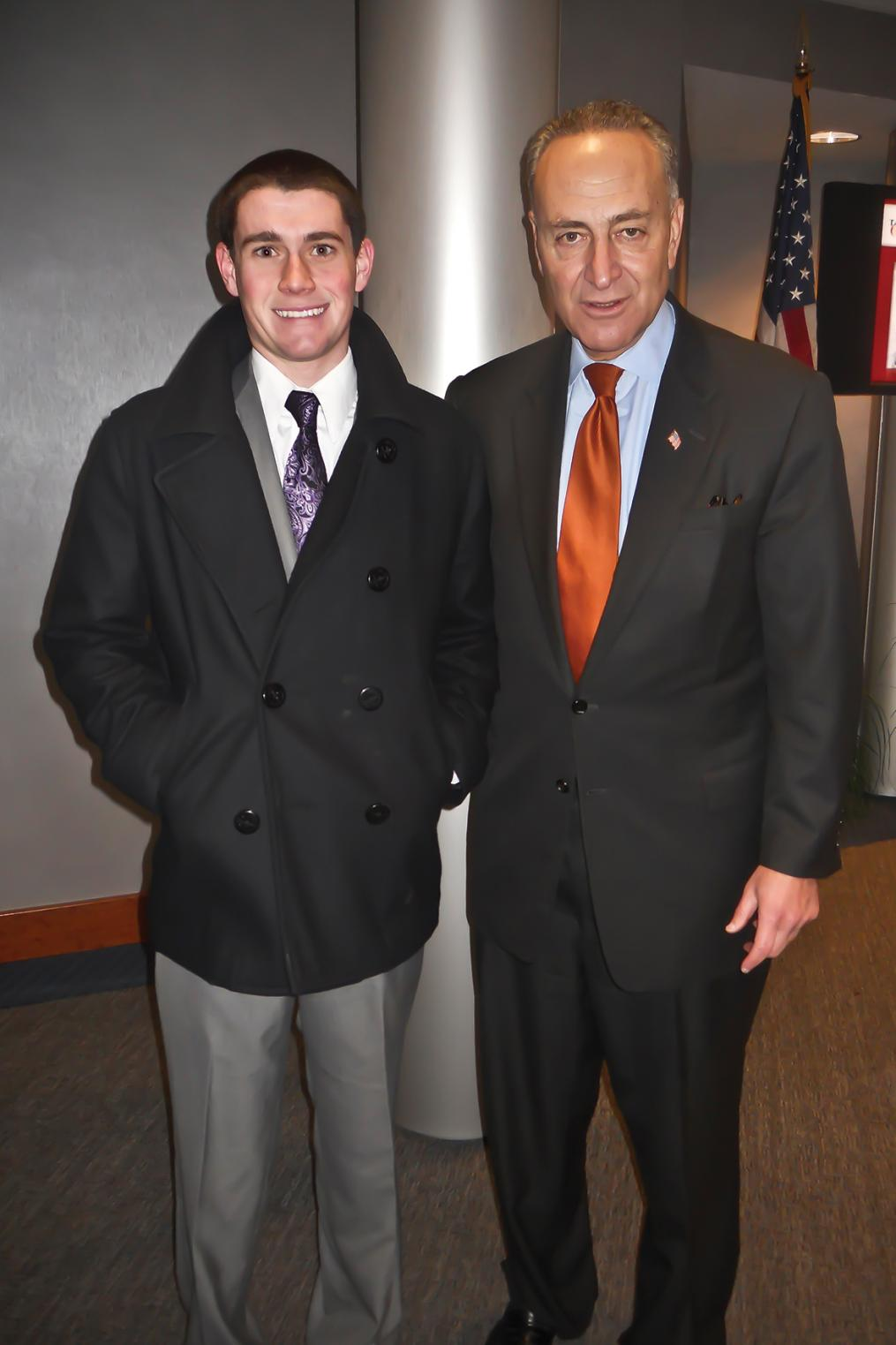 Tom Drumm stands with U.S. Sen. Charles E. Schumer