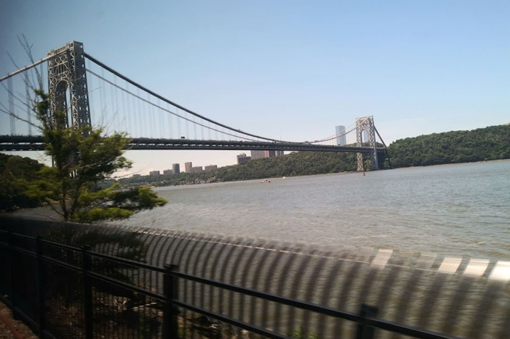 Olivia Ennist '20 snapped this pic of the George Washington bridge from her seat on the train into New York City. The double-decked suspension bridge spans the Hudson River, and connects the Washington Heights neighborhood of Manhattan in New York City with the borough of Fort Lee in New Jersey.