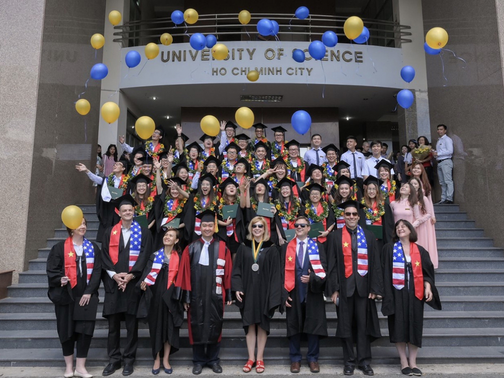 Graduates of the Keuka College Vietnam Program at the University of Science in Ho Chi Minh City celebrate at the June 8 graduation ceremony.