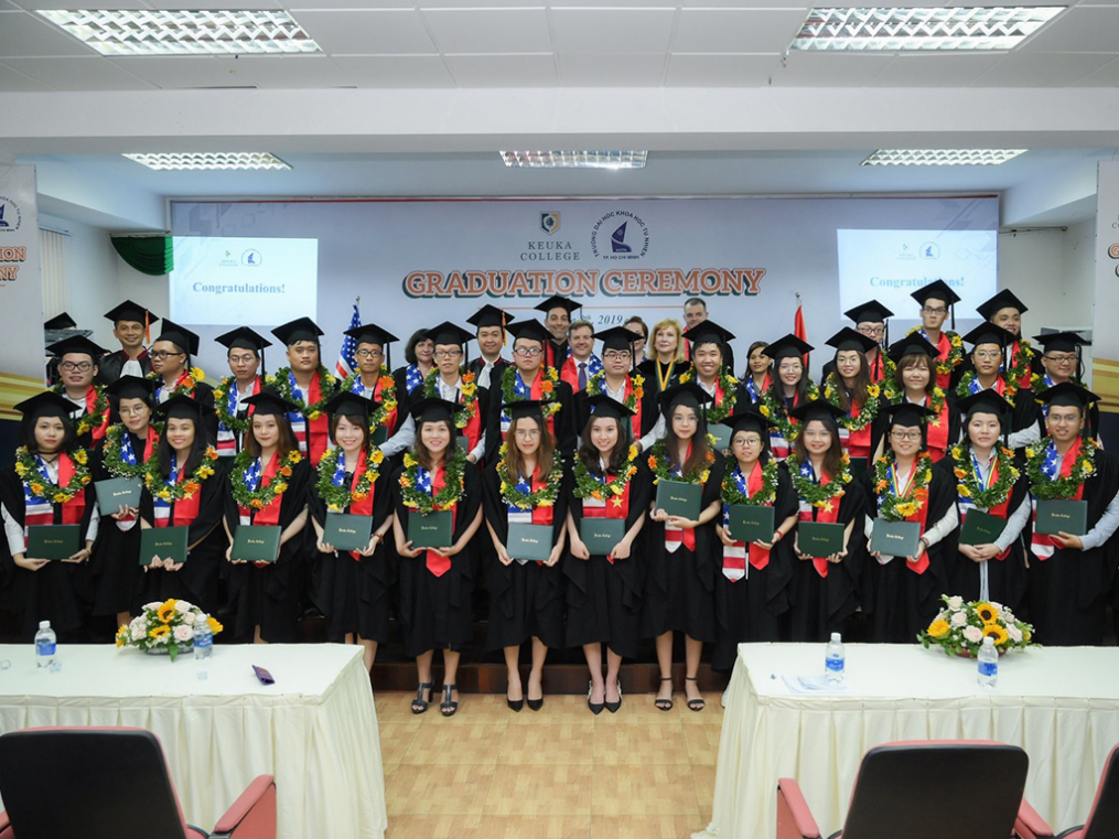 The Keuka College Vietnam Program at the University of Science in Ho Chi Minh City 2019 graduating class.