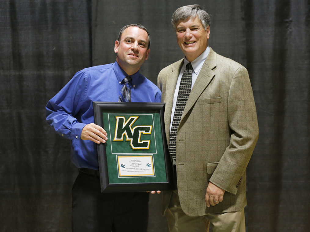 Dr. Arthur F. Kirk, Jr. Athletics Hall of Fame inductee Kurt Bastian '03, left, poses with Keuka College Athletics Director Dave Sweet at the Hall of Fame Induction & Dinner Friday night.