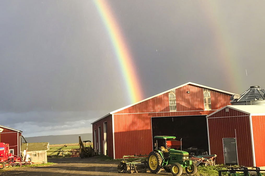 A double rainbow falls over Lakeview Organic Farm, owned by Klass and Mary-Howell Martens.