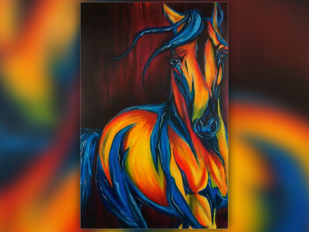 painting of a horse that is blue, yellow and orange