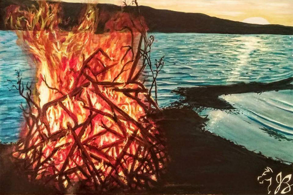 painting of a fire along the lake