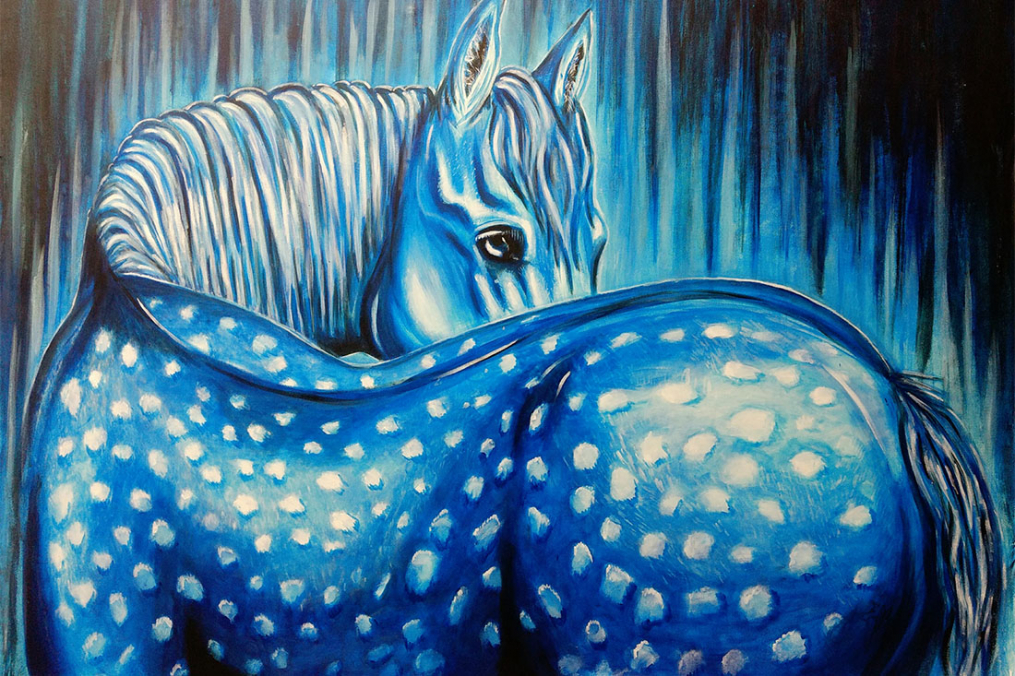 painting of a blue horse with white spots