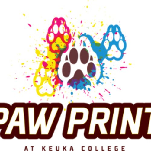 paw print graphics above the text Paw Print at Keuka College